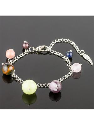 Браслет-оберег 7 камней - Близнецы самоцветы Револю. Цвет: зеленый, розовый, черный