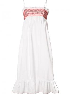 Расклешенное платье с плиссировкой Lisa Marie Fernandez. Цвет: белый