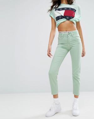 Tommy Jeans Укороченные прямые джинсы с завышенной талией. Цвет: зеленый