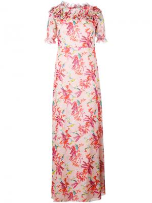 Длинное платье с цветочным принтом Giamba. Цвет: розовый и фиолетовый