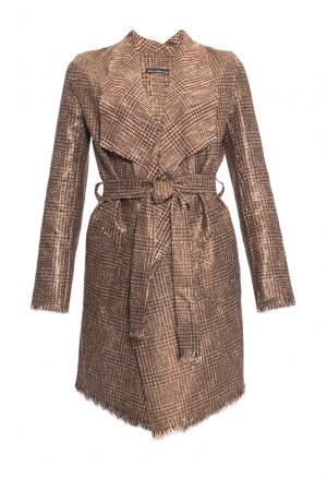 Кардиган из шерсти и хлопка с поясом 153070 Msw Atelier. Цвет: коричневый