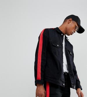 Sixth June Черная джинсовая куртка с красной полосой. Цвет: черный