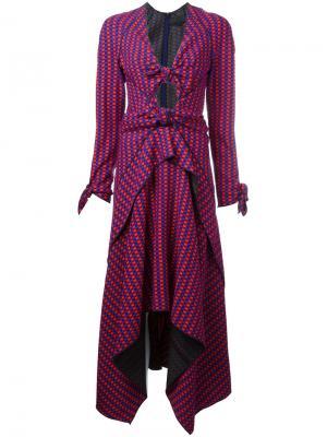 Платье миди с узлом спереди Proenza Schouler. Цвет: красный