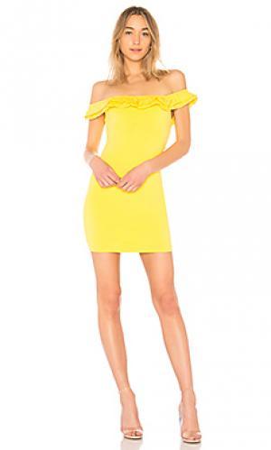 Мини-платье с открытыми плечами mattie by the way.. Цвет: желтый