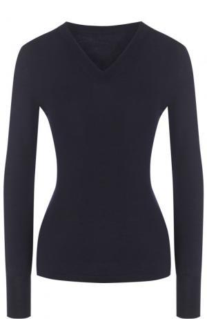 Шерстяной пуловер с V-образным вырезом Alaia. Цвет: темно-синий
