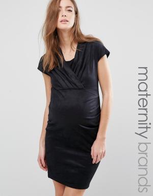 Mama.licious Платье для беременных с запахом на лифе Mamalicious. Цвет: черный