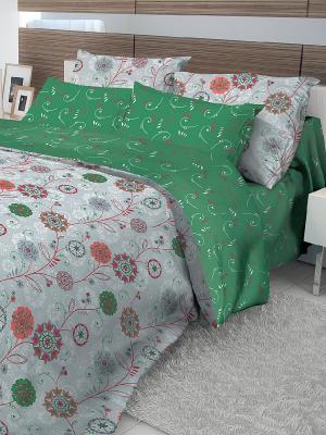 Комплект постельного белья Волшебная ночь. Цвет: серый, зеленый