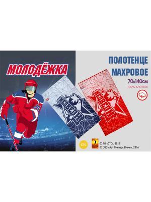Полотенце махровое пестротканное Молодежка  70х140 см Василиса. Цвет: красный