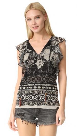 Блуза с короткими рукавами Fuzzi. Цвет: голубой