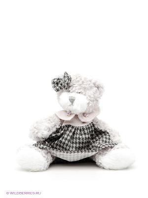 Игрушка Мишка Белла в платье MAXITOYS. Цвет: белый, темно-серый