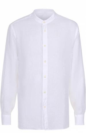 Льняная рубашка с воротником-стойкой 120% Lino. Цвет: белый