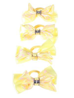 Резинки для волос бантики с золотой пряжкой разноцветные принтом корона, 4 штуки, желтые Радужки. Цвет: синий