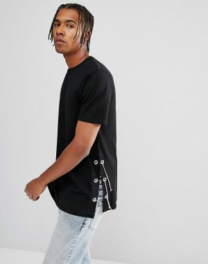 ASOS Черная длинная футболка с цепочками и люверсами по бокам Heritage. Цвет: черный