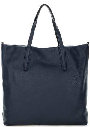 Вместительная кожаная сумка с длинными ручками Gianni Chiarini. Цвет: синий
