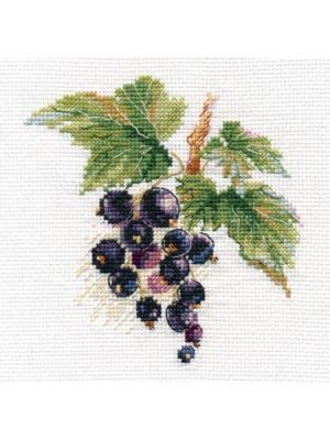 Черная смородина 11х11 см Алиса. Цвет: зеленый, темно-фиолетовый, коричневый, темно-синий