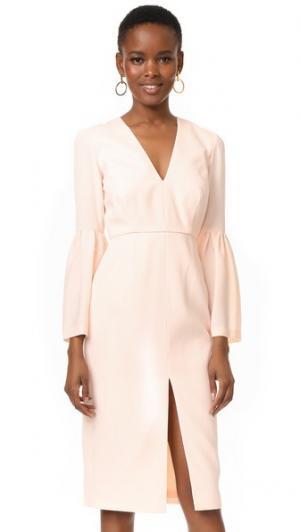 Платье с расклешенными рукавами и глубоким V-образным вырезом Jill Stuart. Цвет: розовый телесный