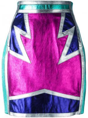 Металлизированная юбка с панельным дизайном Dsquared2. Цвет: многоцветный