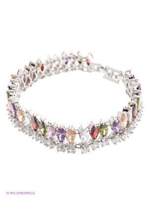Браслет by LA STRASA. Цвет: серебристый, сиреневый, фиолетовый, прозрачный, красный, розовый