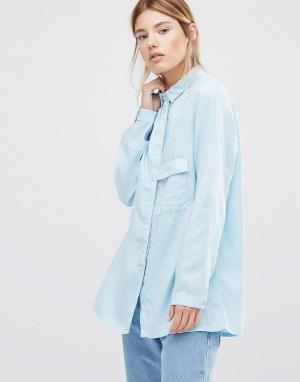 Waven Голубая рубашка с длинными рукавами Laure. Цвет: синий