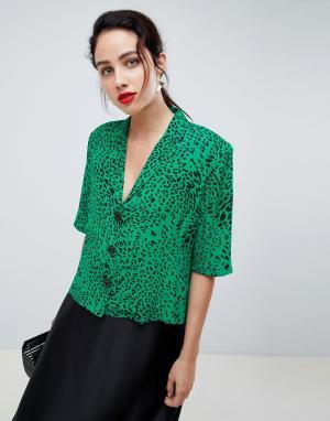 Gestuz Рубашка с леопардовым принтом и подплечниками. Цвет: зеленый
