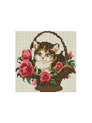 Мозаика на подрамнике. Котёнок в корзинке (324-ST-S) Белоснежка. Цвет: белый