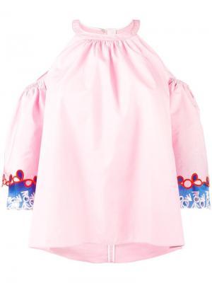 Блузка с вышивкой на рукавах Peter Pilotto. Цвет: розовый и фиолетовый