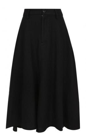 Однотонная шерстяная юбка-миди Yohji Yamamoto. Цвет: черный