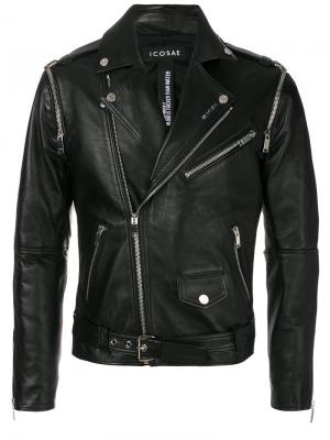 Байкерская куртка с рукавами на молниях Icosae. Цвет: чёрный