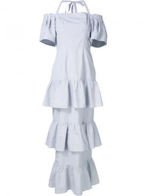 Многоярусное платье с открытыми плечами Audra. Цвет: серый