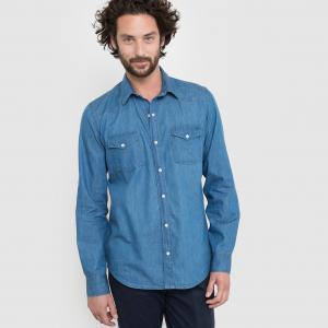 Рубашка прямого покроя из денима La Redoute Collections. Цвет: деним