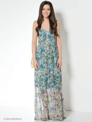 Платье Klimini. Цвет: бежевый, синий, коричневый