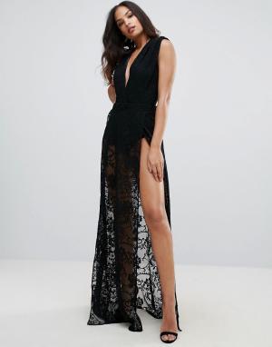 Forever Unique Кружевное платье макси с глубоким вырезом. Цвет: черный