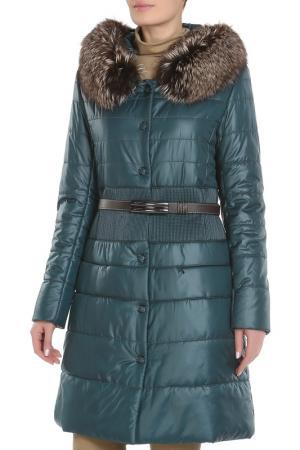 Полуприлегающее пальто с ремнем La Reine Blanche. Цвет: темно-зеленый