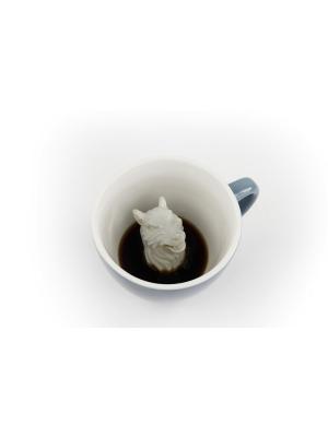 Кружка с Волком 330мл Creature Cups. Цвет: серо-голубой, голубой