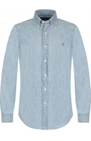 Джинсовая рубашка с воротником button down Polo Ralph Lauren. Цвет: голубой