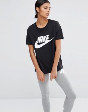 Nike Футболка с большим логотипом Signal. Цвет: черный