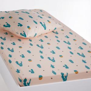 Простыня натяжная с рисунком, Cactus La Redoute Interieurs. Цвет: розовый/ зеленый