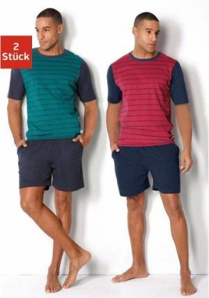 Пижама с шортами, 2 штуки LE JOGGER. Цвет: красный+зелено-синий