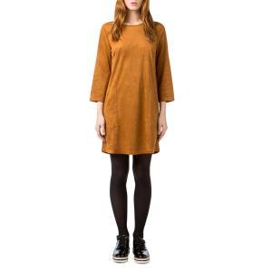 Платье короткое прямое однотонное с длинными рукавами BEST MOUNTAIN. Цвет: темно-бежевый