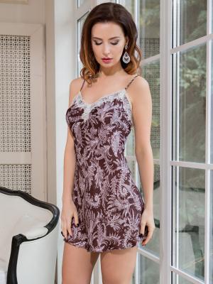 Ночная сорочка MIA-AMORE. Цвет: бледно-розовый, коричневый