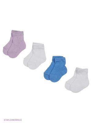 Носки - 4 пары Гамма. Цвет: белый, синий, сиреневый