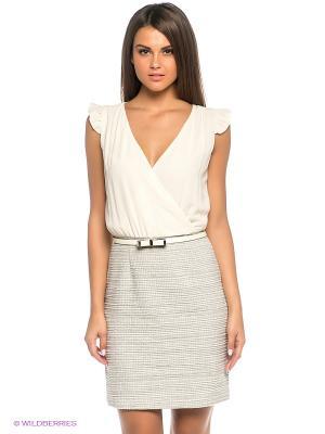 Платье FRACOMINA. Цвет: кремовый, серый