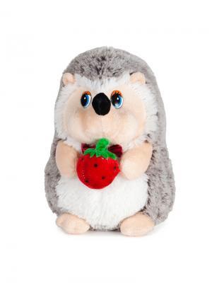 Ежик с Клубничкой, Озвученный, 19 см MAXITOYS. Цвет: белый, бледно-розовый, красный, серый, черный
