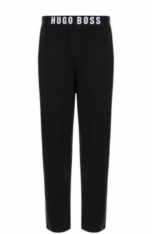 Хлопковые домашние брюки BOSS. Цвет: черный