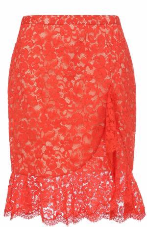 Кружевная юбка-миди с оборкой Roberto Cavalli. Цвет: оранжевый