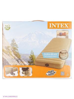 Надувной матрас турист 76х191х15см, ручной насос, ламинир.TPU Intex. Цвет: кремовый