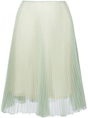 Плиссированная юбка Prada. Цвет: зелёный