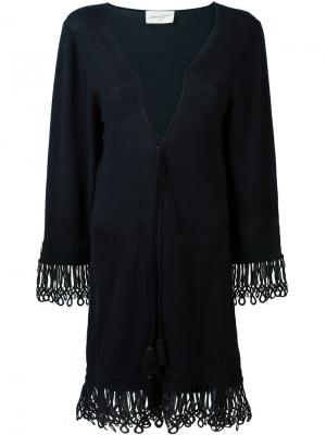 Пальто-кардиган с кисточками на завязках Antonia Zander. Цвет: синий