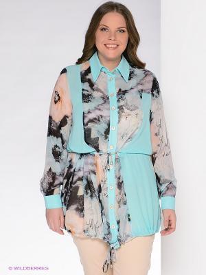 Блузка Giani F. Цвет: бирюзовый, серый