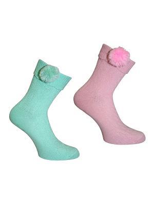 Носки 2 пары Master Socks. Цвет: светло-зеленый, розовый